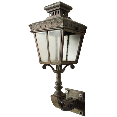 English Victorian Bronze Exterior Bracket Lantern