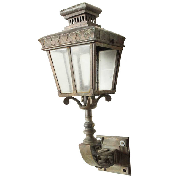English Victorian Bronze Exterior Bracket Wall Lantern