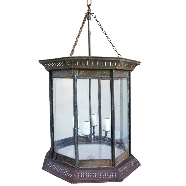 Large Anglo Indian Toleware Octagonal Four-Light Hanging Lantern