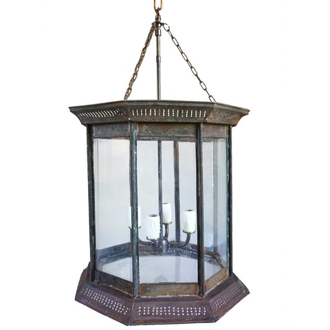 Large Anglo Indian Toleware Hanging Octagonal Lantern