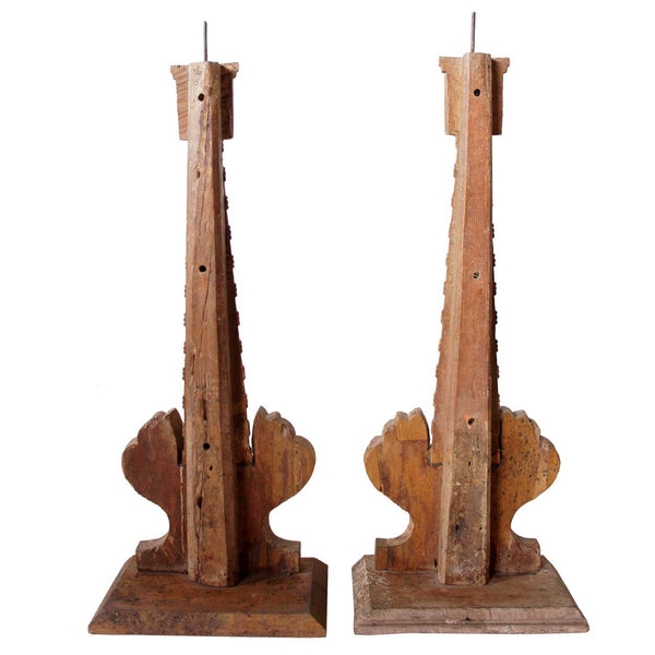 Pair of Indo-Portuguese Gilt Painted Teak Altar Pricket Candlesticks