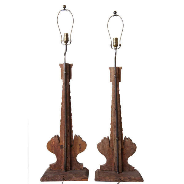 Pair of Indo-Portuguese Teak Candlesticks as Table Lamps