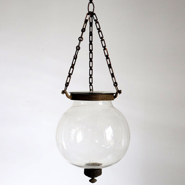 Small English Glass Globe Pendant Hall Candle Lantern