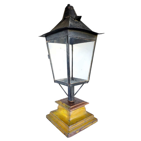 Large English Black Toleware Post Lantern on Painted Teak Base