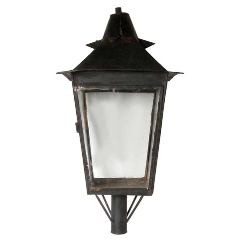 Large English Black Toleware Post Lantern