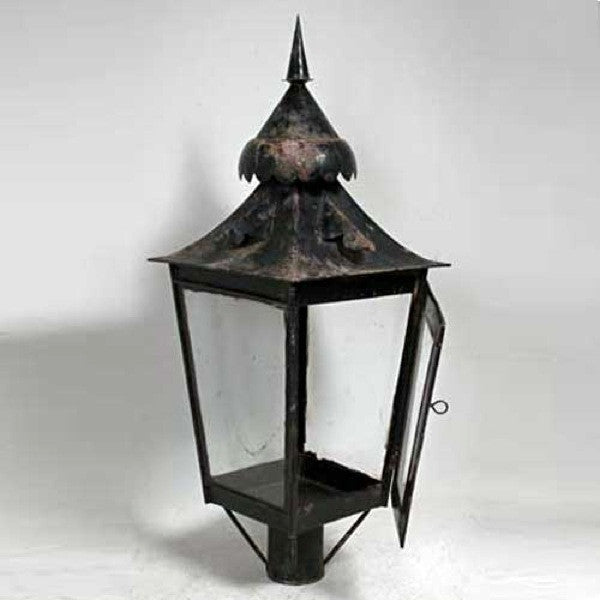 Anglo Indian Black Toleware Post Lantern on Teak Base