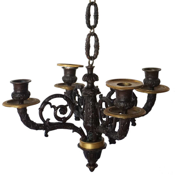 Small French Louis XVI Revival Gilt Bronze Four-Light Chandelier