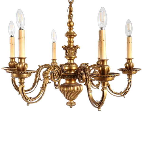 French Louis Philippe Bronze Six-Light Chandelier