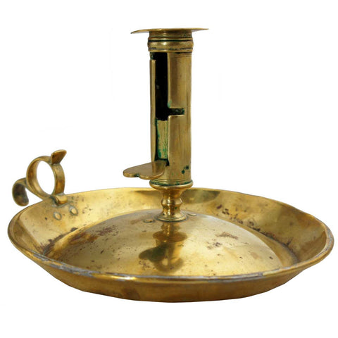 English George III Brass Push-Up Chamberstick