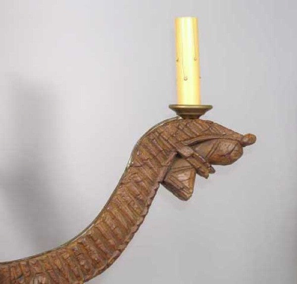 Indian Teak Turban Winder as a Four-Light Chandelier