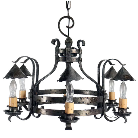 American Arts and Crafts Iron Six-Light Chandelier