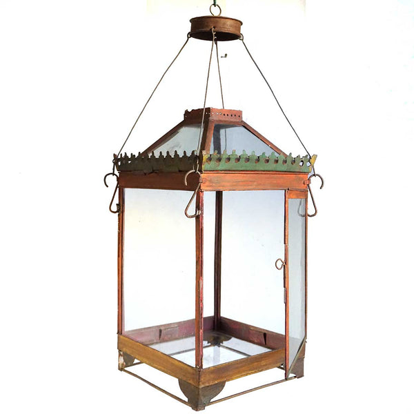 Anglo Indian Red Toleware Hanging Lantern