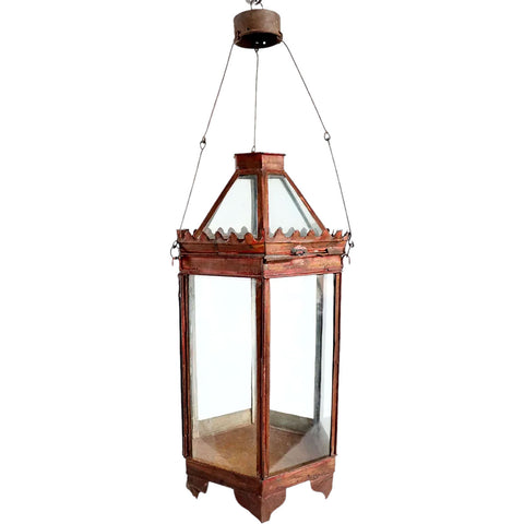 Anglo Indian Red Toleware and Glass Hexagonal Hanging Lantern