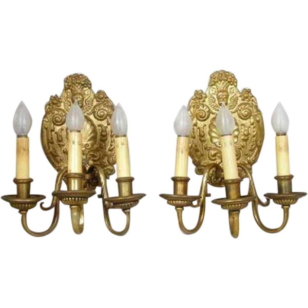 Pair of French Baroque Style Gilt Bronze Three-Light Wall Sconces