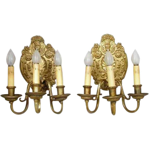 Pair Of French Baroque Style Gilt Bronze Three Light Wall Sconces