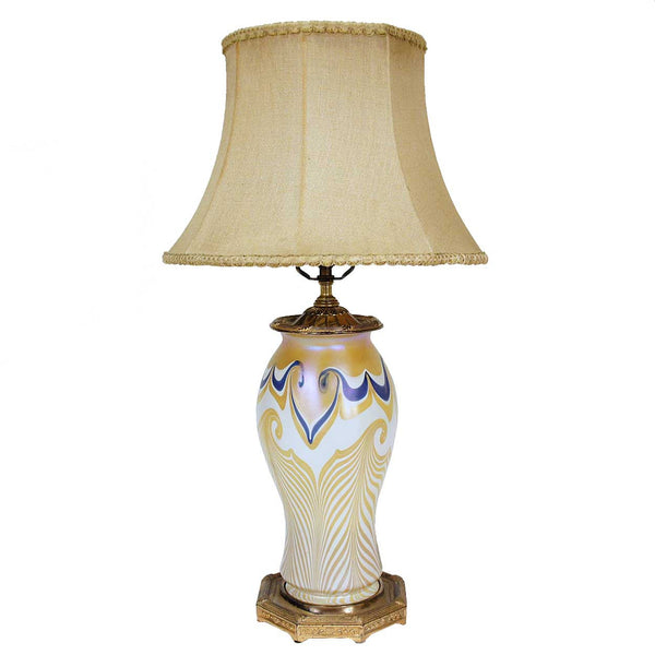 American Quezal Art Nouveau Glass Table Lamp