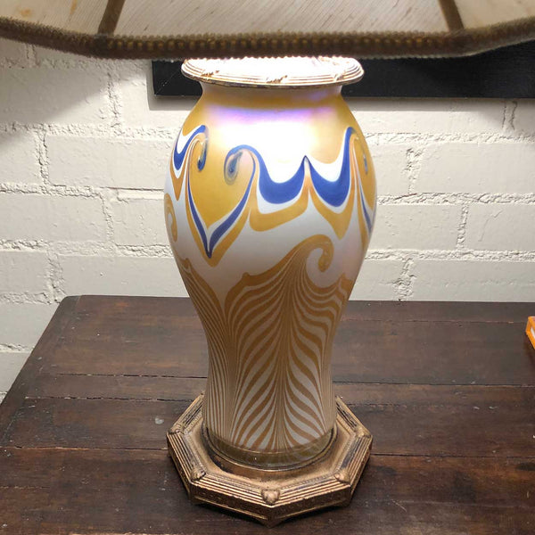American Quezal Art Nouveau Yellow and Cobalt Pulled Feather Glass Table Lamp