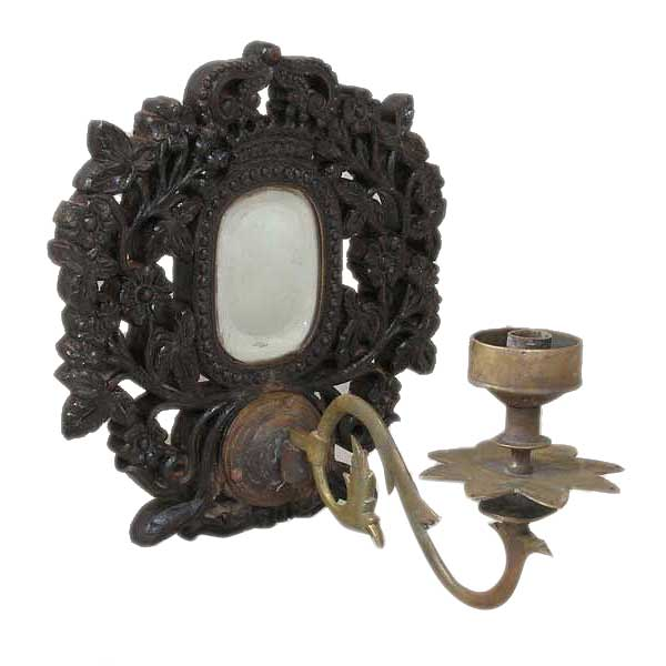 Indo-Portuguese Goan Teak Mirrored One-Arm Candle Wall Sconce