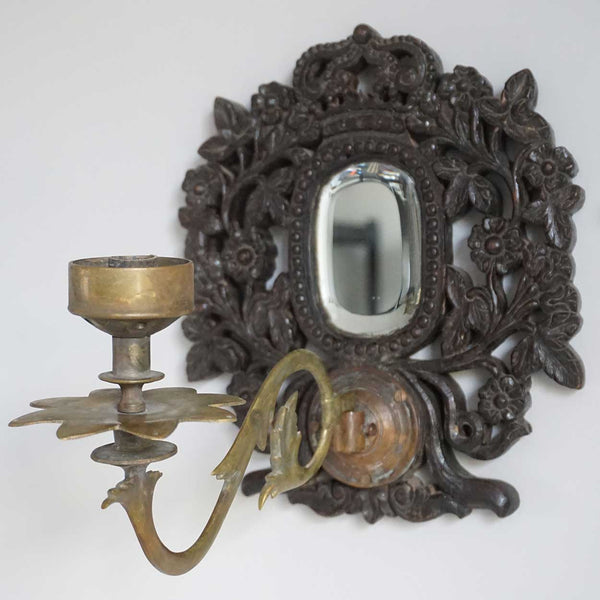 Indo-Portuguese Goan Teak Mirrored One-Arm Wall Sconce