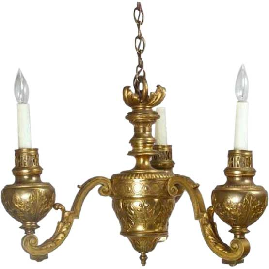 Scandinavian Gilt Bronze Three-Light Chandelier