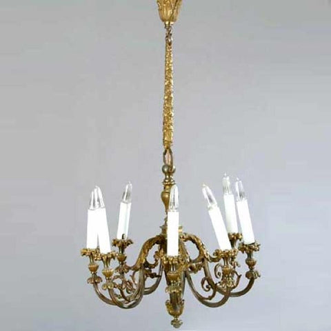 French Louis XV Style Bronze and Brass Eight-Light Chandelier