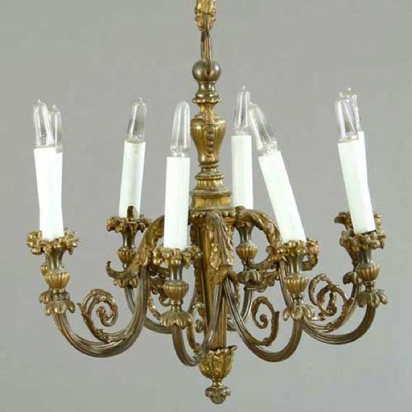 French Bronze and Brass Eight-Light Chandelier