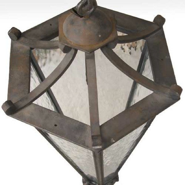 Vintage Argentine Wrought Iron and Textured Glass Three-Light Hanging Lantern