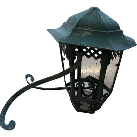 Green Painted Brass Bracket Exterior Wall Lantern