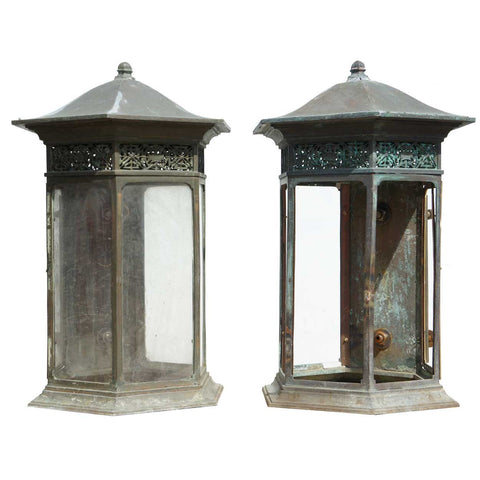 Pair of American Copper, Bronze and Wrought Iron Wall Bracket Lanterns