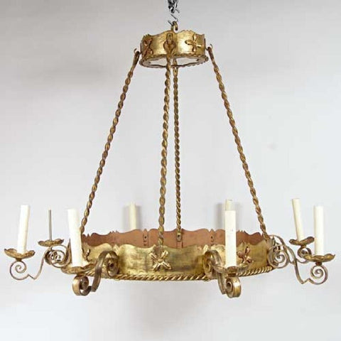 Vintage Large Gilt Wrought Iron and Mica Eight-Light Chandelier