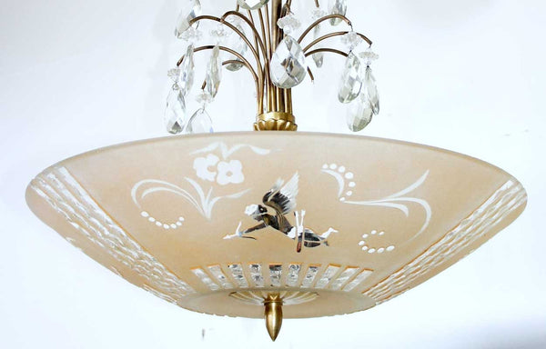 Swedish Art Deco Brass and Etched Crystal Glass Bowl Ceiling Pendant Light