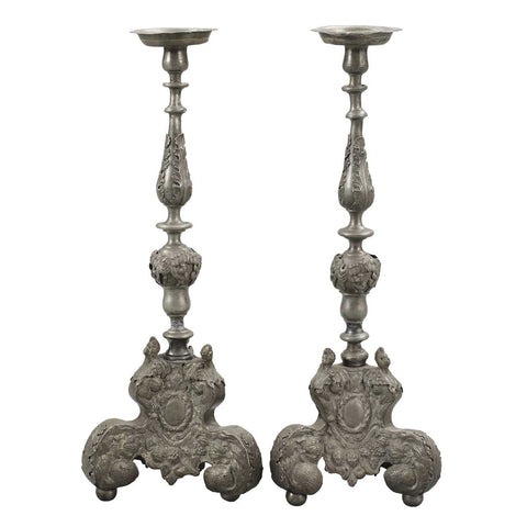 Pair of Large Dutch Baroque Style Pewter Candlesticks