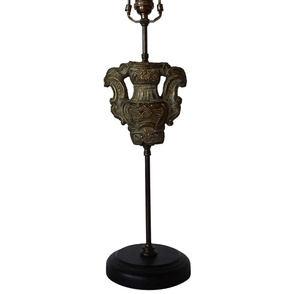 Italian Rococo Repousse Brass Altar Fragment as a Table Lamp
