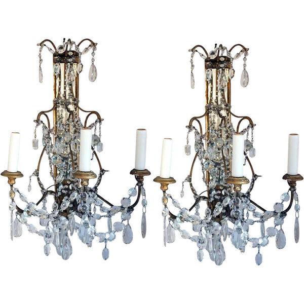 Pair of French Louis XV Style Crystal Beaded Three-Light Wall Sconces