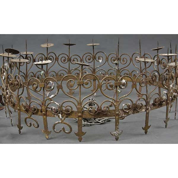 Danish Medieval Style Wrought Iron Eight-Light Candlelight Chandelier