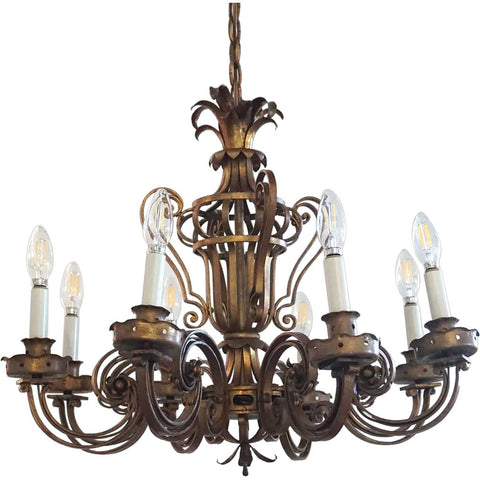 French Painted Wrought Iron Eight-Light Chandelier