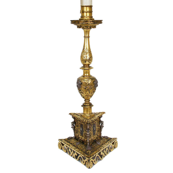 Italian Renaissance Style Silver and Gilt Bronze Table Lamp