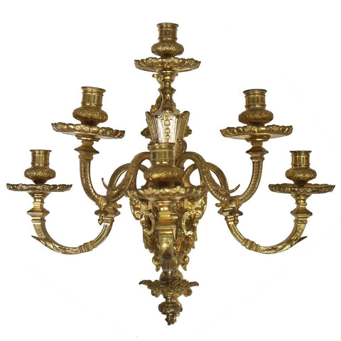 French Louis XVI Style Gilt Bronze Six-Light Wall Sconce