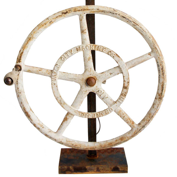 Vintage American Industrial Cast Iron Greenhouse Wheel as a Table Lamp