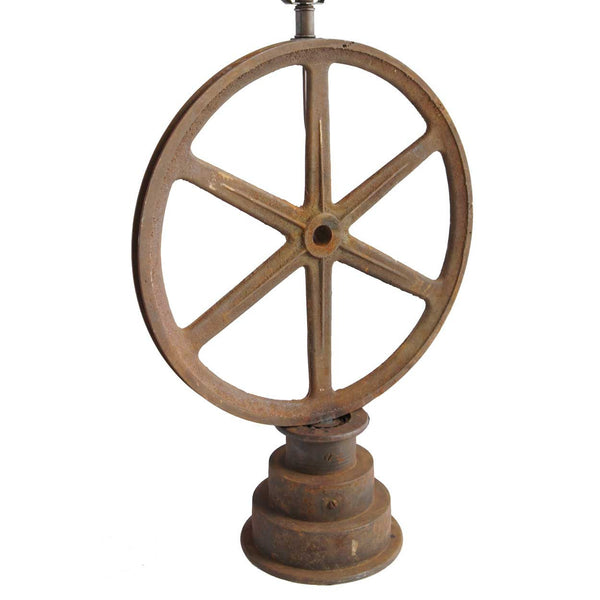 Vintage American Industrial Cast Iron Machinery Wheel as a Table Lamp