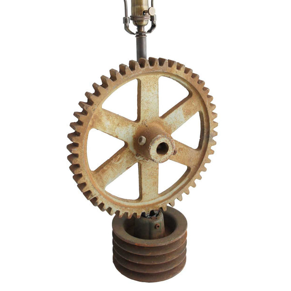 Vintage American Industrial Cast Iron Cog Gear as a Table Lamp