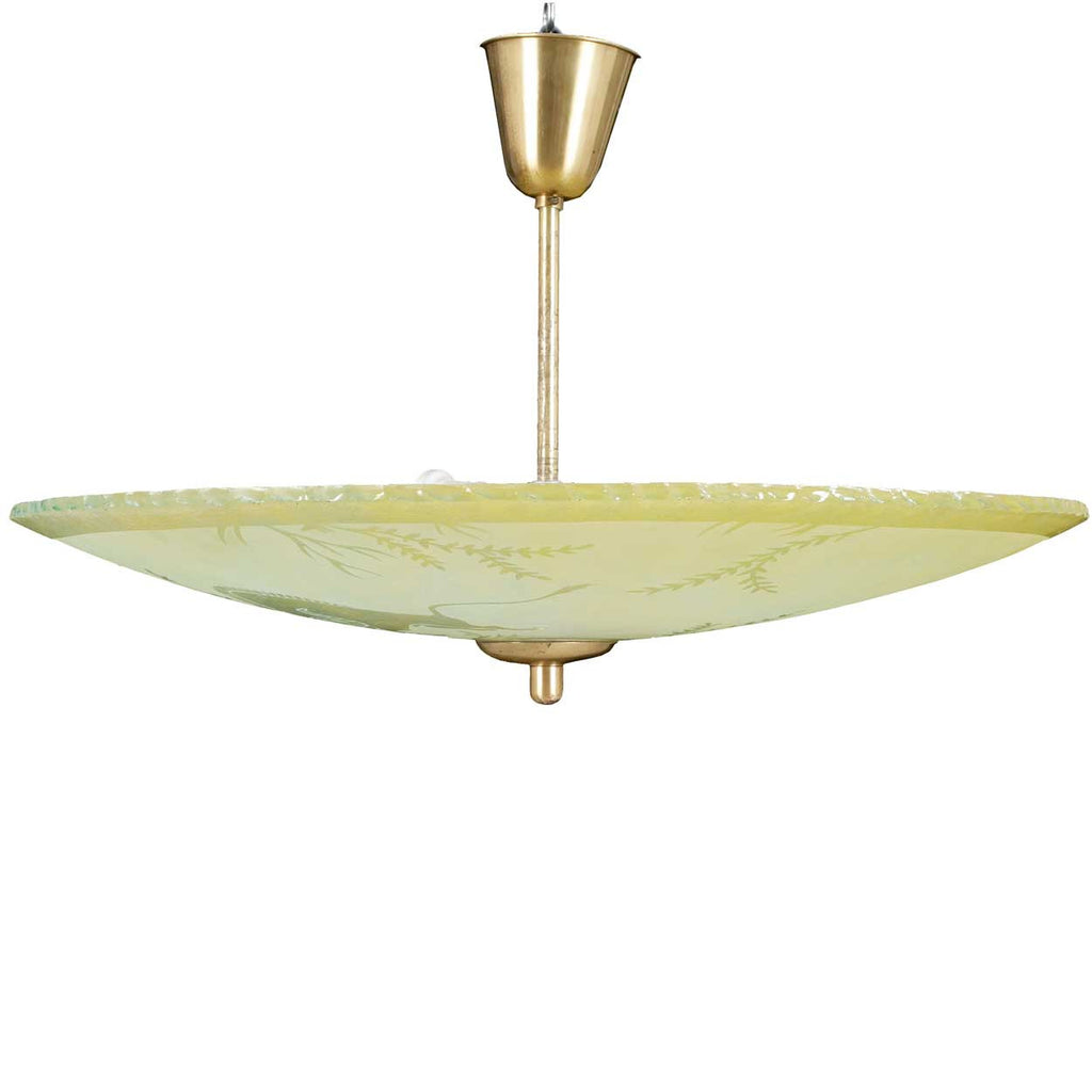 Swedish art deco etched glass bowl pendant light aloadofball Image collections