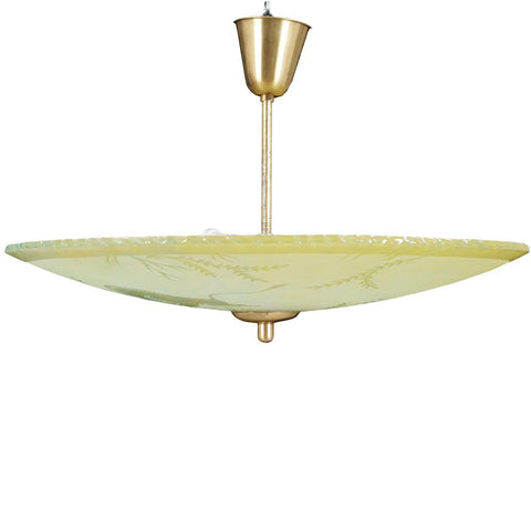 Swedish Art Deco Etched Glass Bowl Pendant Light