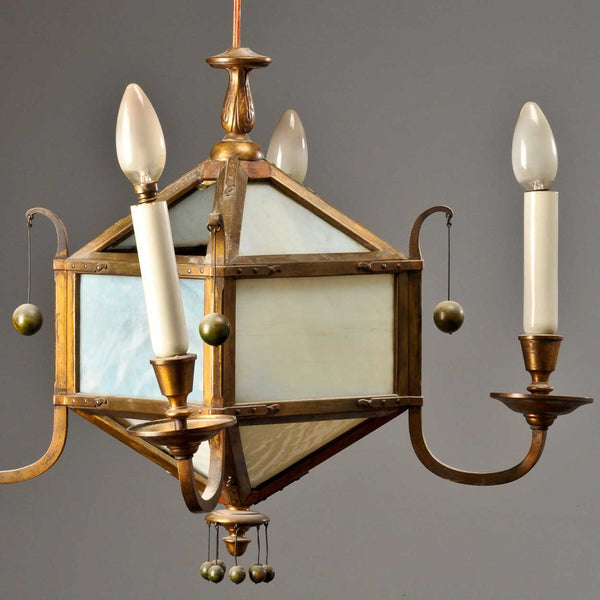 Pair of Swedish Jugendstil Glass and Brass Four-Light Chandeliers