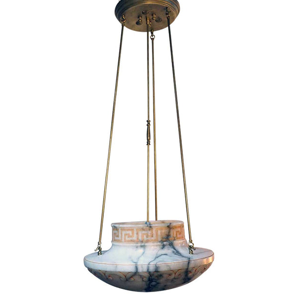 Italian Empire Style Alabaster Bowl Pendant Light
