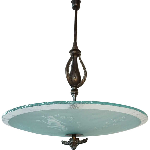 Swedish Art Deco Brass and Etched Glass Bowl Five-Light Ceiling Pendant Light