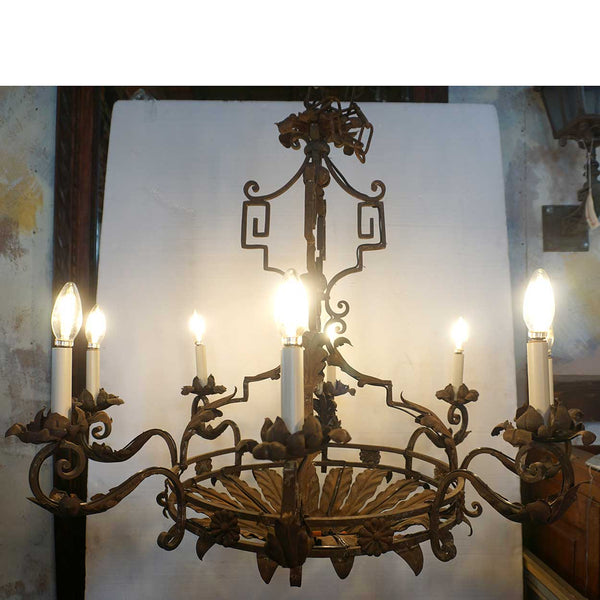 French Baroque Style Wrought Iron Floral Eight-Light Chandelier