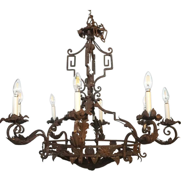 French Baroque Style Wrought Iron Eight-Light Chandelier