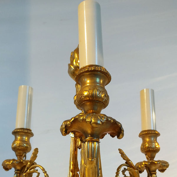 French Empire Style Rouge Royale Marble and Gilt Bronze Three-Light Candelabrum Table Lamp