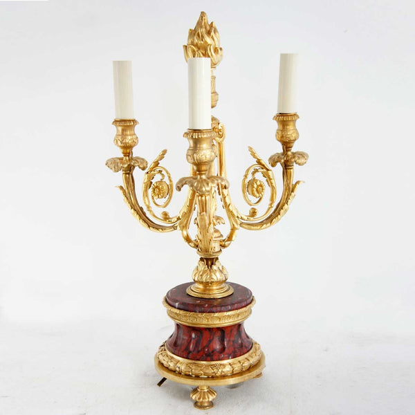 French Empire Style Marble and Gilt Bronze Three-Light Candelabrum Table Lamp